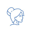 woman face profile line icon concept woman face vector image vector image