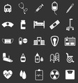 Hospital icons on black background vector image