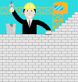 Businessman building a brick wall vector image