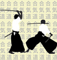 Aikido men silhouettes vector image