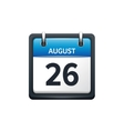 August 26 Calendar icon flat vector image vector image