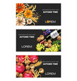 autumn harvest banners set realistic vector image vector image