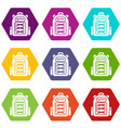 backpack student icons set 9 vector image vector image