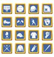 baseball icons set blue vector image vector image