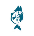 blue carp with beard and pirate hat pirate vector image vector image