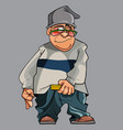 cartoon funny man in hat and glasses vector image vector image