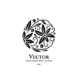 circle logo design with black leaves vector image vector image