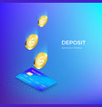 coin drops into credit card isometric banner vector image vector image
