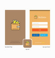 company wallet splash screen and login page vector image vector image
