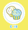 creamy yellow and blue cupcakes on white vector image vector image
