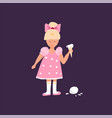 cute hand drawn doodle crying girl with ice cream vector image