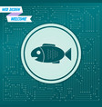fish icon on a green background with arrows in vector image vector image