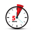 five minutes clock icon isolated on white vector image vector image