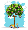 Girls reading under tree with numbers vector image vector image