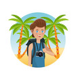 guy photo camera backpack palm sand beach vector image vector image