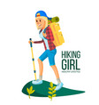 hiking woman hiking in mountains vector image vector image