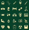 Hospital color icons on green background vector image