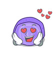 in love blueberry roll cake mascot cartoon vector image vector image