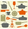 Kitchen utensils silhouettes vector image