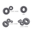 logo set mechanical cogwheel in 3d vector image