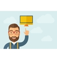 Man pointing the monitor icon vector image vector image