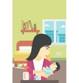 Mother with baby and breast pump vector image vector image