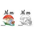 mushroom alphabet letter m coloring page vector image vector image