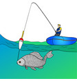 object on white background man who fishing in open vector image