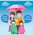 Parent and children under umbrella together