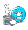photographer cartoon the number zero color blue vector image