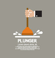 Plunger In Mans Hand Graphic vector image vector image