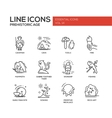 Prehistoric age- line design icons set vector image