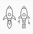 Rocket thin line start up project icons set