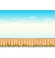 Rural wooden fence blue sky background vector image