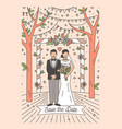 save date card template with happy newlywed vector image