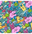 Seamle pattern Funny monsters graffiti vector image