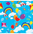 Seamless pattern with rainbows clouds vector image vector image