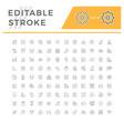 set editable stroke line icons medicine vector image