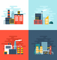 set industrial factory buildings flat style vector image