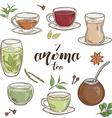 set of 6 isolated cartoon hand drawn aroma tea vector image vector image