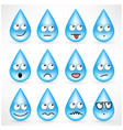 set of drops with smiley emoticon faces vector image