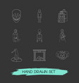 set of witch icons line style symbols with vector image