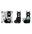set with foxes mountains black and white pine vector image