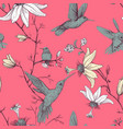 sketch pattern with birds and flowers vector image vector image
