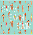 swimmer watercolor seamless background vector image