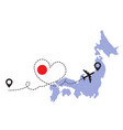 travel to japan airplane concept vector image vector image