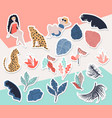 tropical girl sticker collection vector image