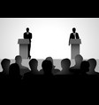 two men figure debating on podium vector image
