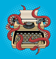 typewriter with octopus tentacles pop art vector image vector image