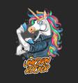 unicorn rocker jacket rider artwork vector image vector image